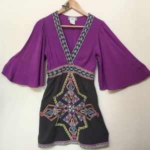 Flying Tomato Embroidered Purple Boho Dress Small